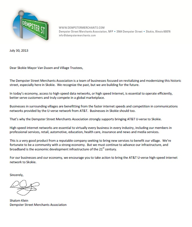 Letter of Support for AT&T