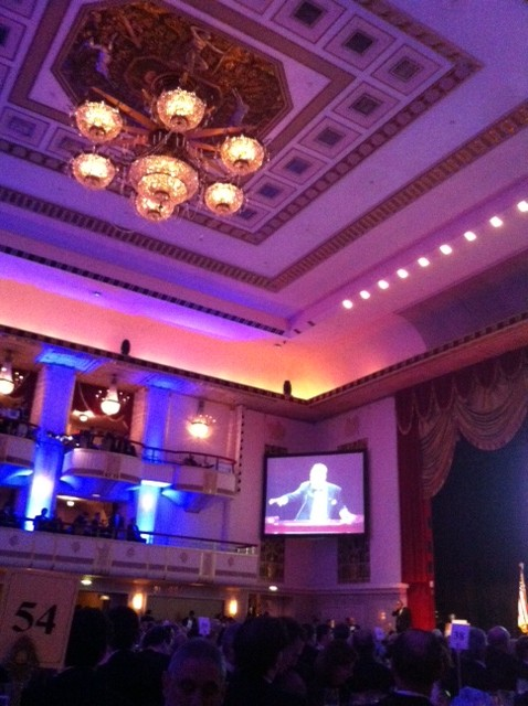 At the luxurious ballroom of the Waldorf Astoria in New York